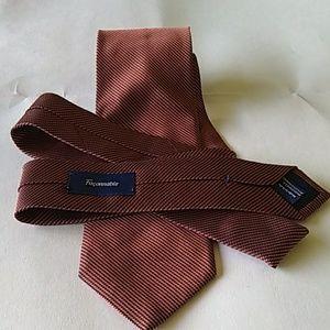 Faconnable silk tie deep Orange stripe pattern